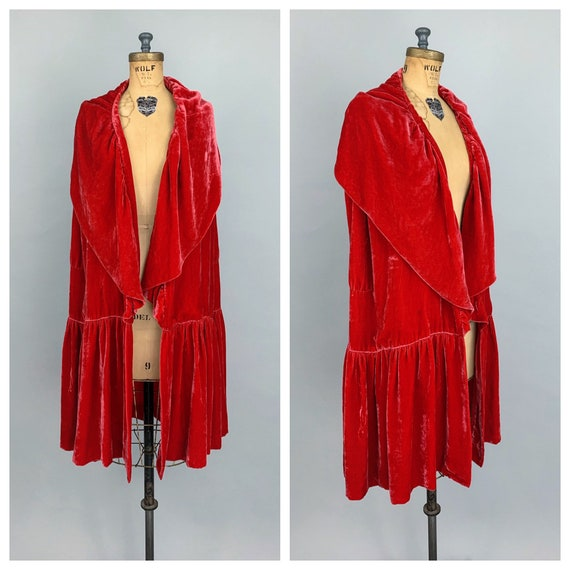 Vintage 20s red silk velvet wrap cape opera coat