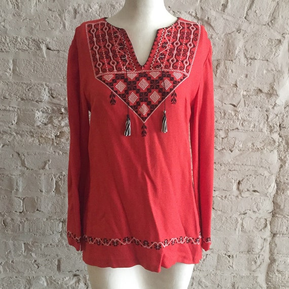 Vintage 70s Bell Sleeve Embroidered Folk Peasant Top Blouse Etsy