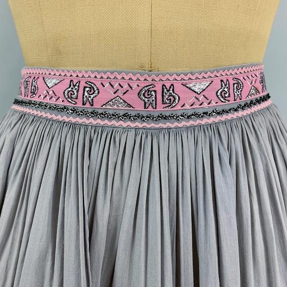 Vintage 50s circle patio skirt | 1950s pink & sil… - image 3