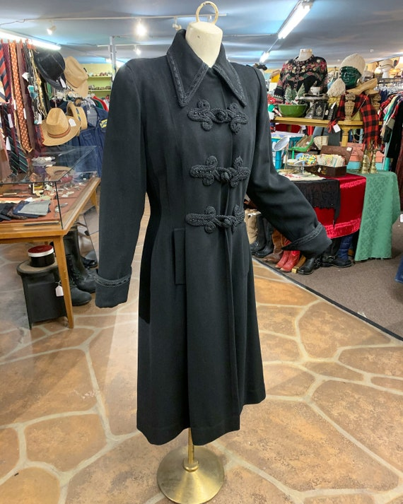 Vintage 40s black wool princess coat | 1940s prin… - image 4