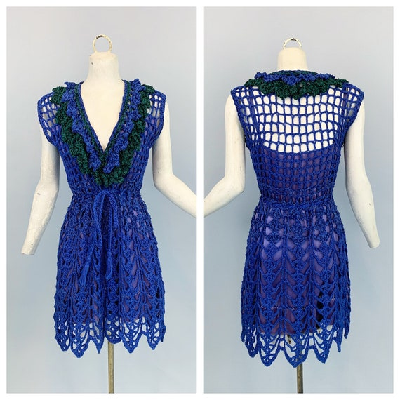 Vintage 60s 70s crochet dress | 1960s 1970s blue c