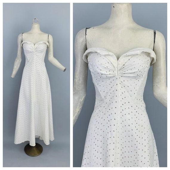 Vintage 40s eyelet strapless gown / Vintage 1940s