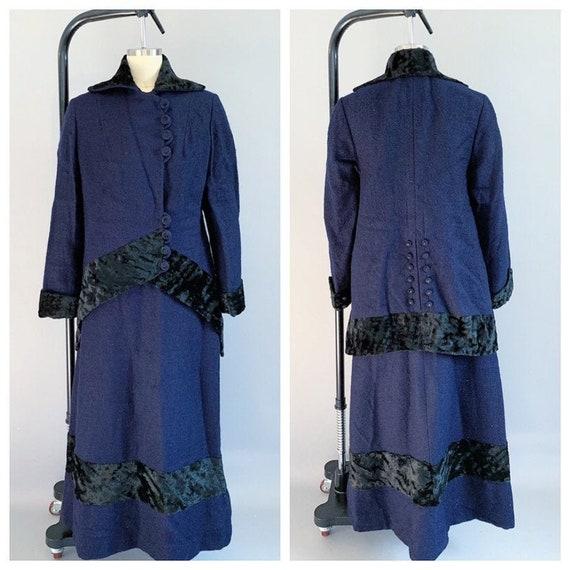 Antique Edwardian walking suit | 1910s wool and pl