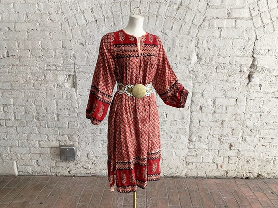 Vintage 70s Indian cotton block print dress | 1970