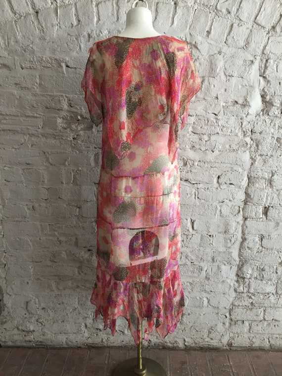 1920s/1930s sheer silk chiffon floral scarf hem d… - image 7