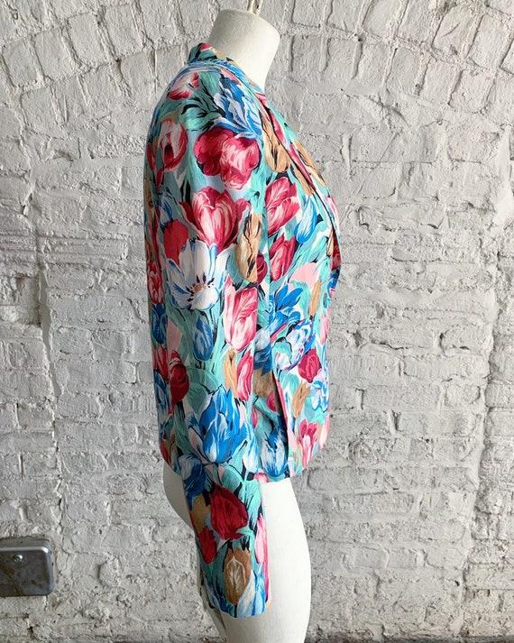 Vintage 70s 80s Cacharel tulip print wool blazer … - image 4