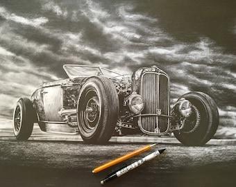Hot Rod Pencil Etsy