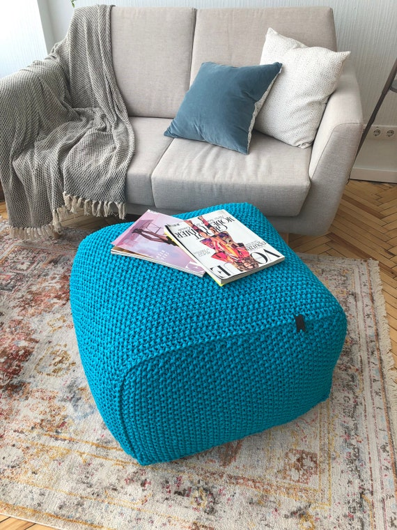 Groovy Blue Knitted Pouf Square Pouf Floor Pouf Ottoman Crochet Pouf Knit Pouf Knitted Footstool Rectangular Pouf Coffee Table Machost Co Dining Chair Design Ideas Machostcouk