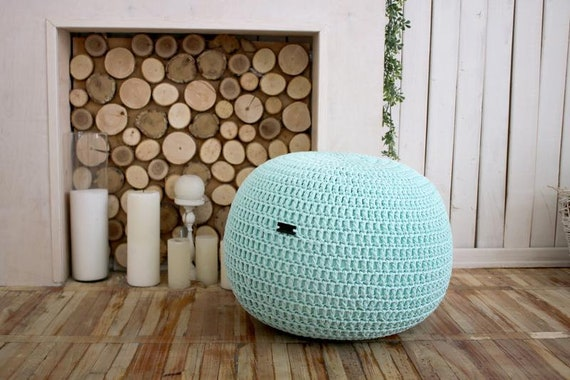Peachy Mint Knitted Pouf Floor Pouf Ottoman Crochet Pouffe Knit Pouf Knitted Footstool Crochet Pouffe Gmtry Best Dining Table And Chair Ideas Images Gmtryco
