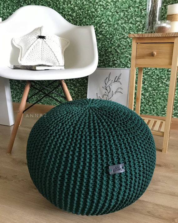 Magnificent Dark Green Pouf Chunky Knit Pouf Pouf Ottoman Green Knit Chair Pouffe Cotton Footstool Green Decor Caraccident5 Cool Chair Designs And Ideas Caraccident5Info