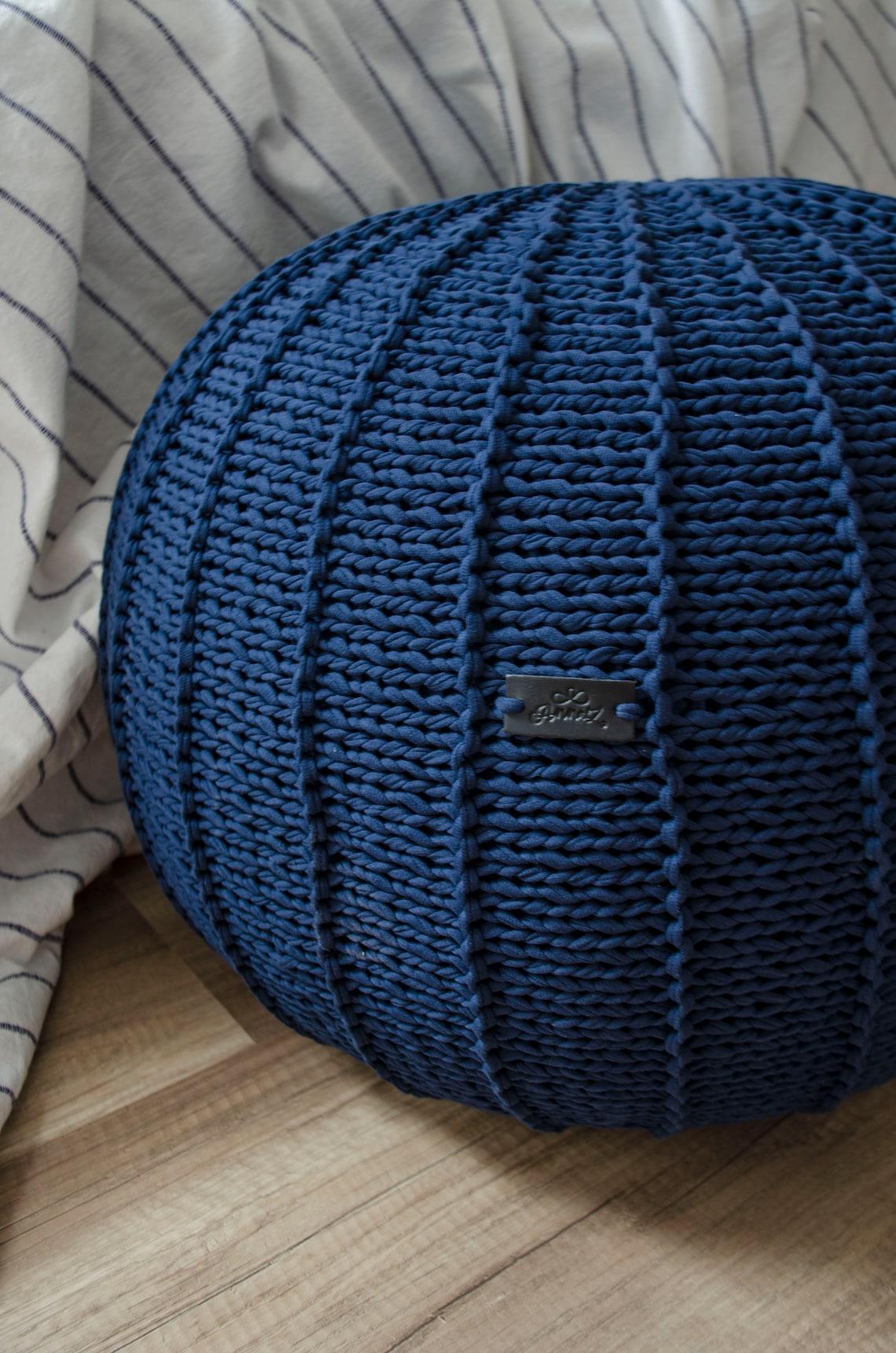 Navy blue chunky knit pouf, Footstool Pouf ottoman Knitted pouf Cotton pouf