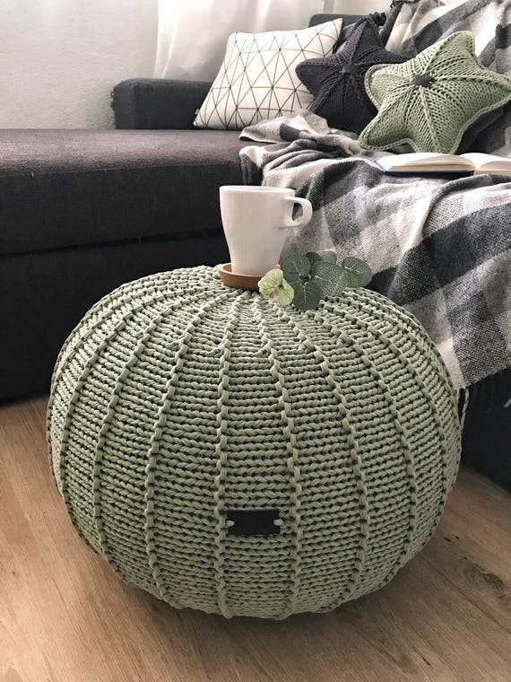 Fantastic Sage Green Knitted Pouf Floor Pouf Ottoman Knitted Pouf Knit Pouf Knitted Ottoman Footstool Green Ottoman Lamtechconsult Wood Chair Design Ideas Lamtechconsultcom