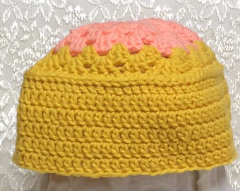 Peach and Yellow Hat