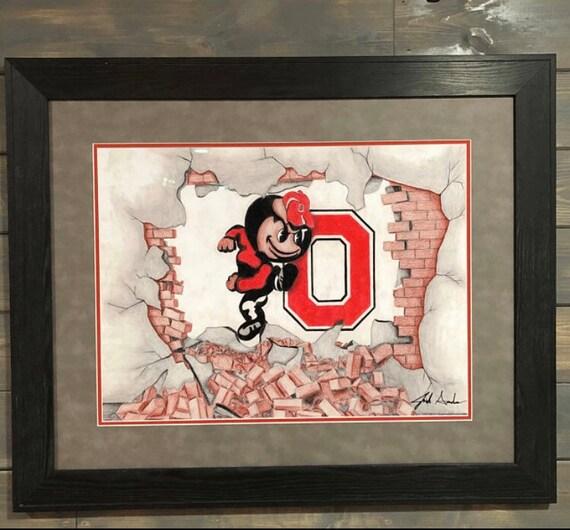 Ohio State Brutus Buckeye Drawing Etsy