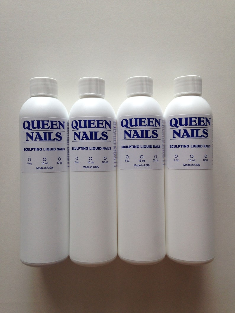 Queen Nails Acrylic Liquid Bottles of 8oz,Made in USA
