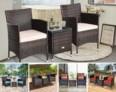 3 Piece Patio Furniture Set Outdoor Wicker Rattan Bistro Set Multiple Variations