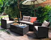 4 Piece Patio Furniture Outdoor Set Chairs Couch Porch Seating Wicker Loveseat Backyard Table Balcony Sectional Rattan Sofa Conversation