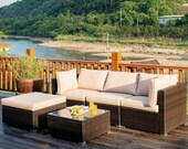 5 Piece Outdoor Table and Chairs Patio Furniture Set Coffee Ottoman Seating Wicker Deck Lawn Sunroom Sofa Rattan All Weather Outside