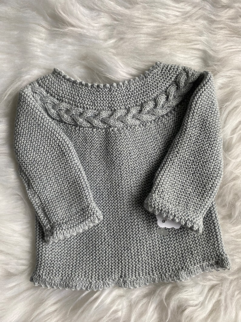 neutral color preemie baby knitwear sweater baby clothes gift Light gray home baby sweater handmade baby clothes 0-1 month unisex