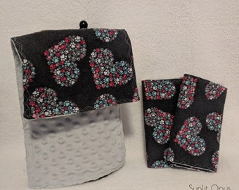 Heart Paw Cluster Baby Burp Cloths