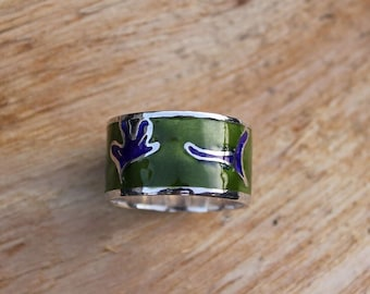 Green and blue cloisonne enamel silver ring