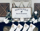 North Pole bed and breakfast sign, Christmas sign, romantic Christmas sign, cozy, gift