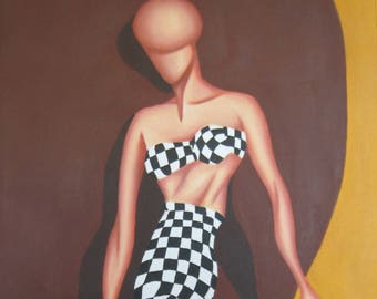 "Checkered Dress, 24""x14"" abstract figurative oil painting"
