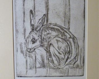 "Original Drypoint Print limited edition - ""Crouching Hare"", Black on White Prints"