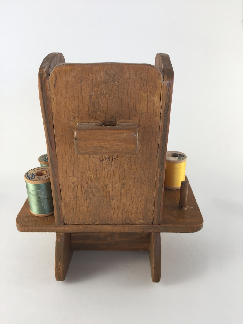 Hand Made Pins and Needle Holder Pin Cushion Wooden Rocking Chair Button Holder Sewing Gift Vintage Sewing Rocking Chair- Spool Holder