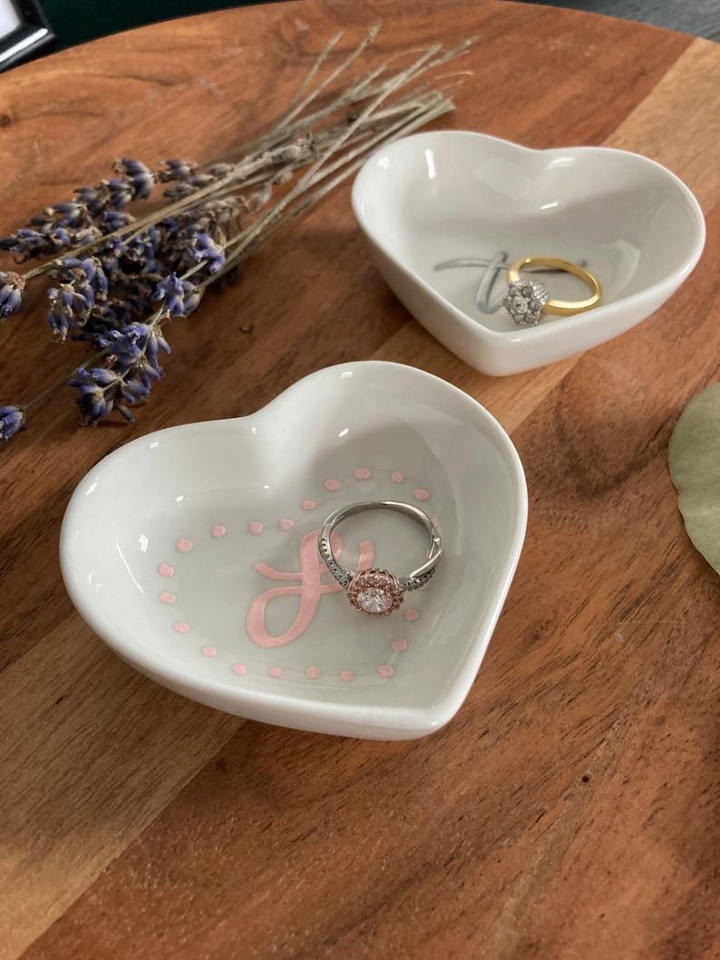 Engagement Gift Custom Ring Dish Calligraphy Ring Dish 3\u201d Personalized Custom Hand Lettered Ceramic Heart shaped Mini Ring Dish