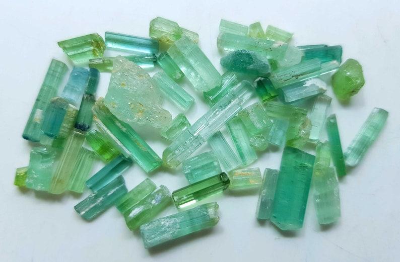 55 Carats Natural Greenish Transparent Tourmaline Small Crystal Afghanistan