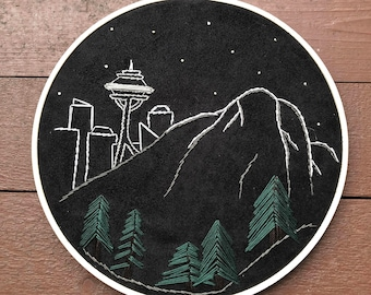 Seattle Mount Rainier Embroidery Hoop