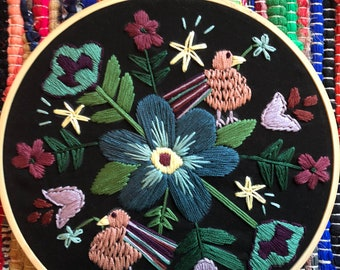 Multicolored folk art Embroidery hoop