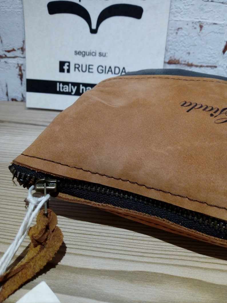 Leather and suede purse