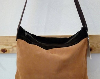 Suede and leather bag