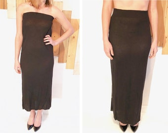 59868ae43b53a MERCEDES Black Stretch Cotton Convertible Strapless Dress or Long Maxi Skirt