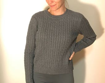 FELICITY Braided Cable Dark Gray Pullover Pinup Sweater, 90s Vintage Staple