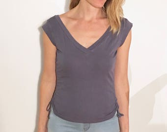 CECILIA Double V-Neck Cap Sleeve Tee with Side Synch-Ties, Lavender Purple