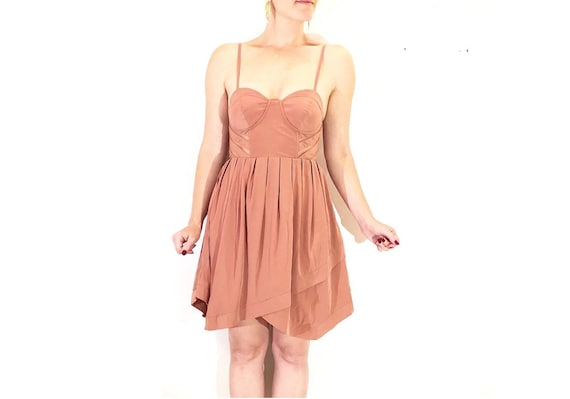 Pink Layered-Skirt Sheer Structured Underwire Bodi