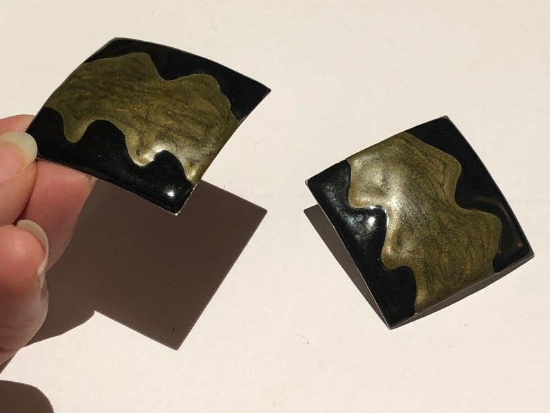 Vintage /'80s Large Black Gold Paint Spill Square Stud Earrings