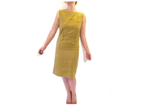 Quilted Fabric Dropped-Waist Vintage Yellow Sheath