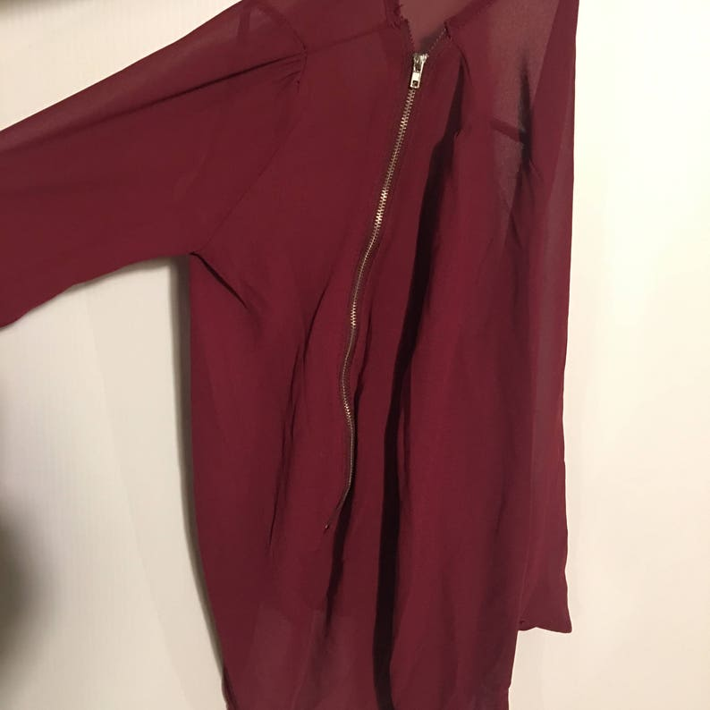 BLAIRE Wine Red Sheer Blouse with Plunging Zipper-Led V-Neck