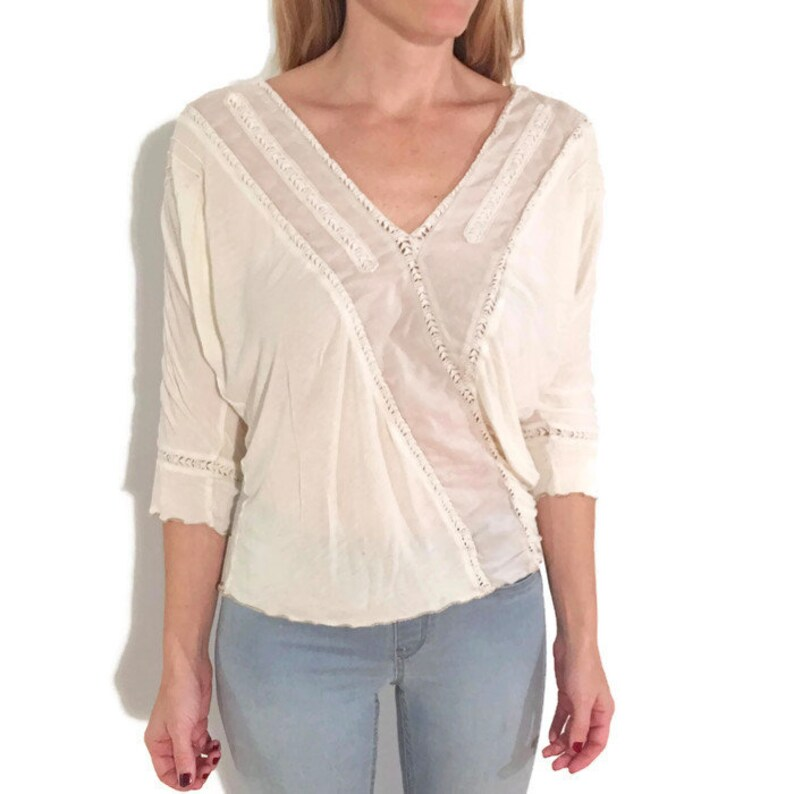 817361f58bc DANICA Vintage Cotton Loose-fit Batwing Dolman Sleeved White