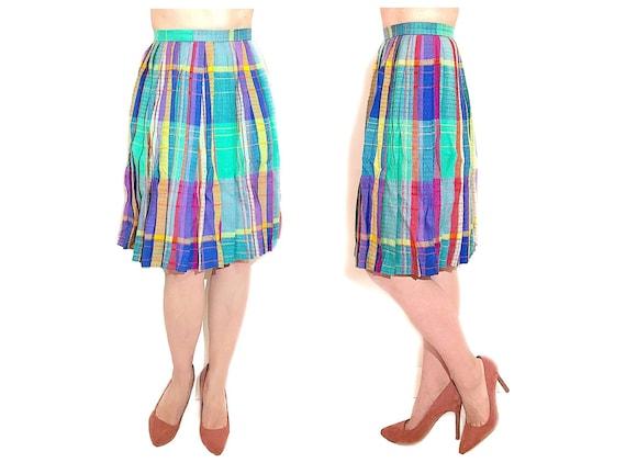 Pastel Plaid Midi Skirt, Vintage Original EVAN PIC