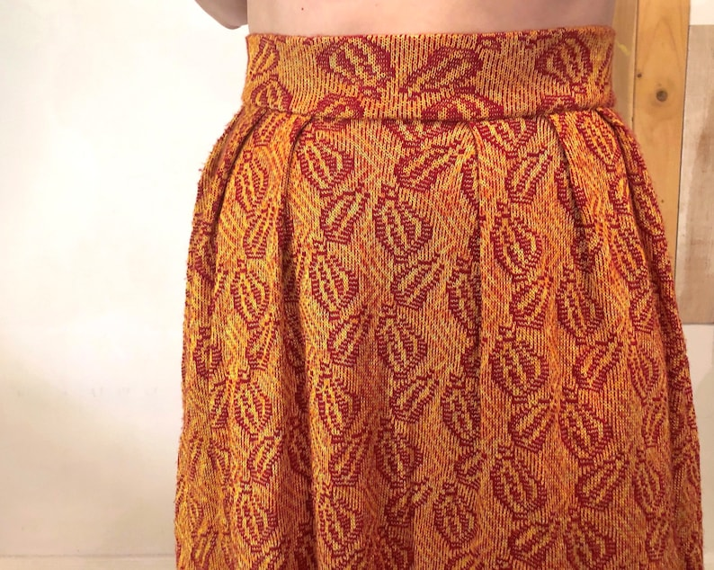 Winter Thick Knit High-Waisted Full Skirt with Abstract Red Leaf Pattern on Burnt Orange
