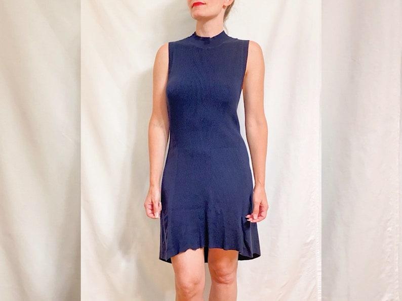 Ribbed Cotton Navy Mock Turtleneck Hi-Lo Bodycon Midi Dress