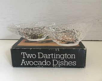 British Hearty Boxed Pair Of Dartington Handmade Advocado Dishes Art Glass Designed By Frank Thrower