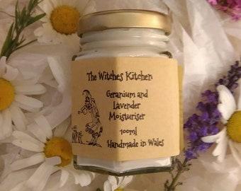 organic lavender and geranium moisturizer handmade in wales paraben free essential oils natural