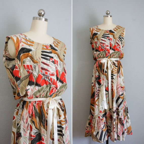 1950s Novelty Print cotton dress | vintage 50s cot