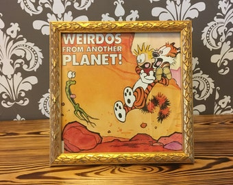 "Framed ""Weirdos From Another Planet"" book cover, Calvin and Hobbes"